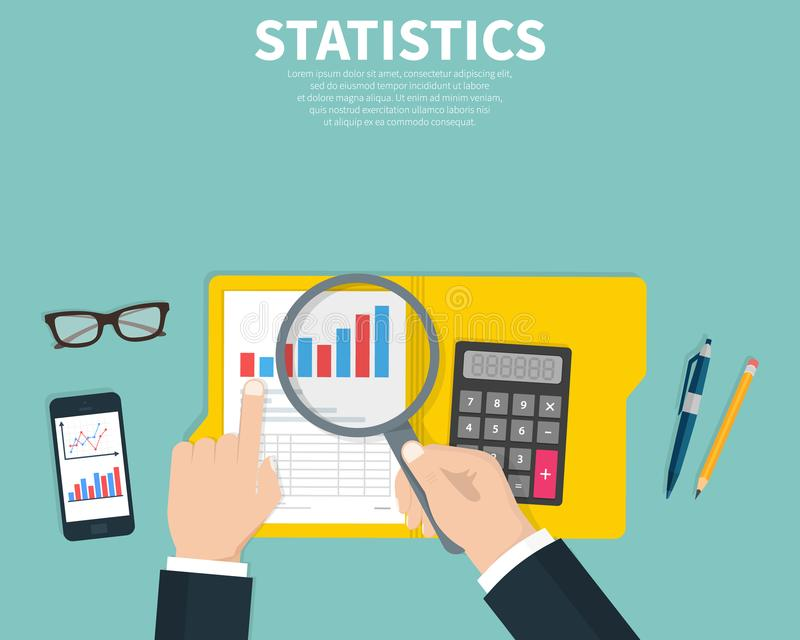 Statistical data presented. Financial report. Research, project management, planning, accounting, analysis, statistics. Concept. Flat cartoon design vector royalty free illustration