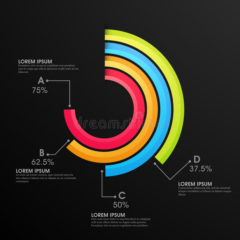 Statistical infographic elements for Business. Colorful statistical infographic element on black background for your Business stock illustration