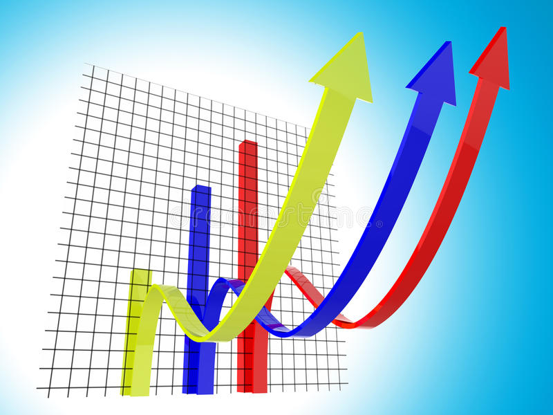 Statistiche e previsione di tendenza di mezzi del grafico commerciale illustrazione vettoriale