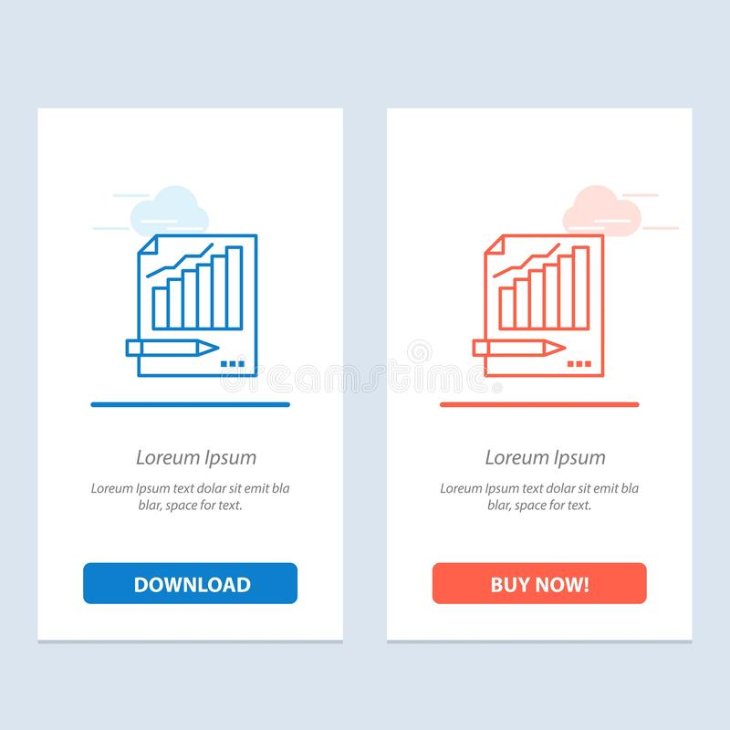 Statistics, Analysis, Analytics, Business, Chart, Graph, Market  Blue and Red Download and Buy Now web Widget Card Template stock illustration
