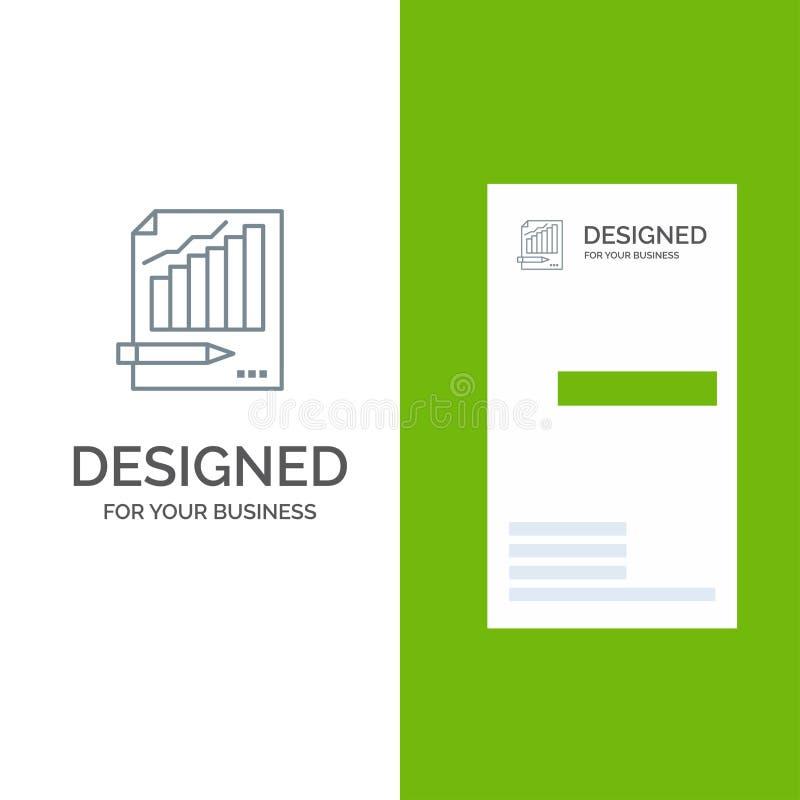 Statistics, Analysis, Analytics, Business, Chart, Graph, Market Grey Logo Design and Business Card Template vector illustration
