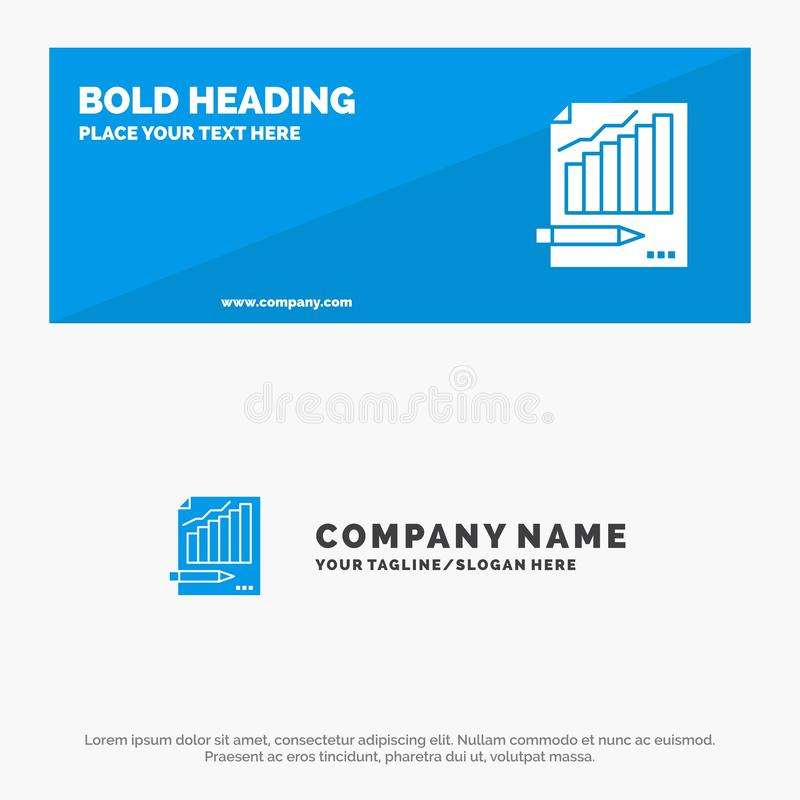 Statistics, Analysis, Analytics, Business, Chart, Graph, Market SOlid Icon Website Banner and Business Logo Template royalty free illustration
