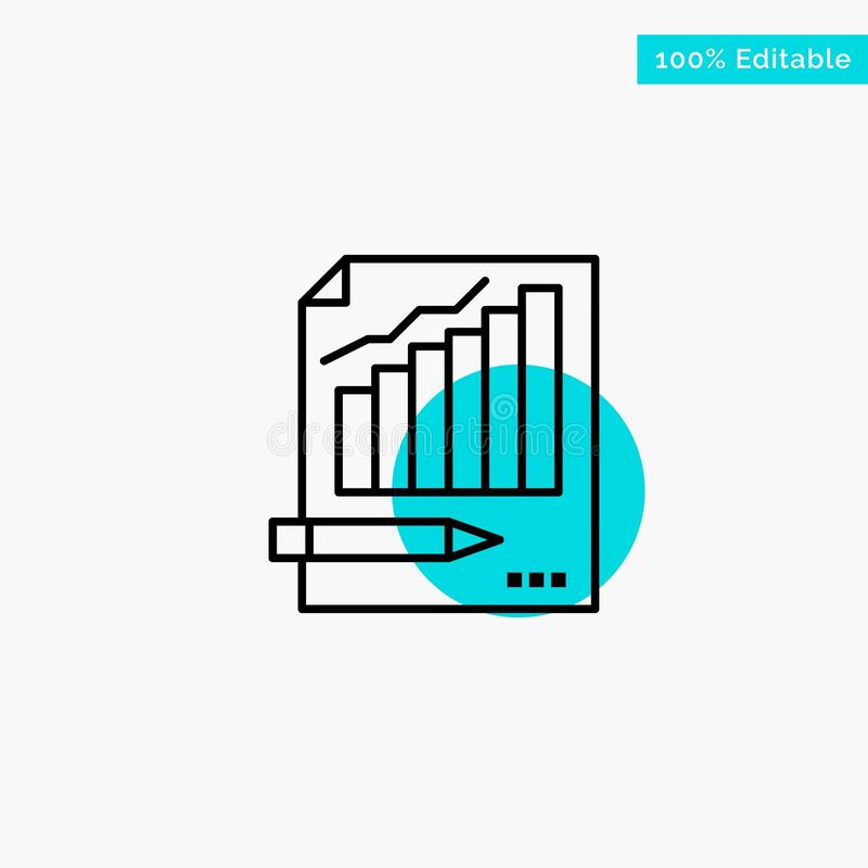 Statistics, Analysis, Analytics, Business, Chart, Graph, Market turquoise highlight circle point Vector icon royalty free illustration