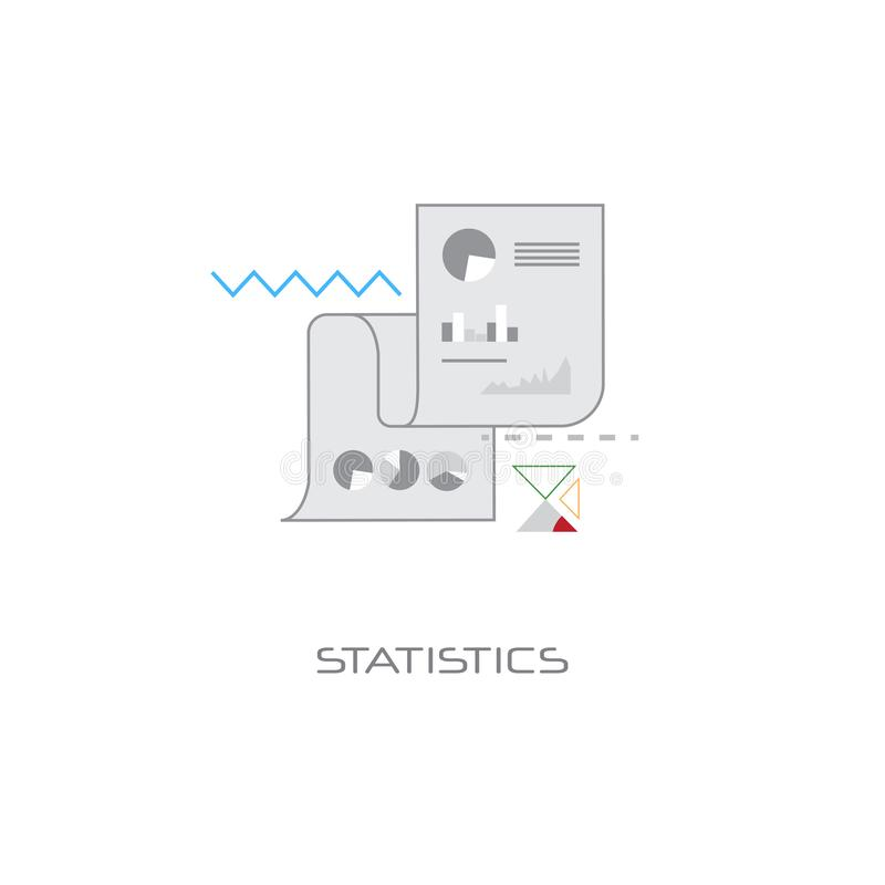 Statistics analysis results document concept financial graph diagram data banner white background flat. Vector illustration stock illustration