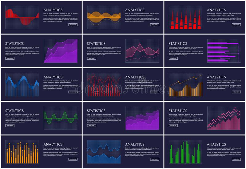 Statistics and Analytics Banner Information Charts. Vector illustration isolated on dark backdrop, colorful charts set, triangles and curved lines stock illustration