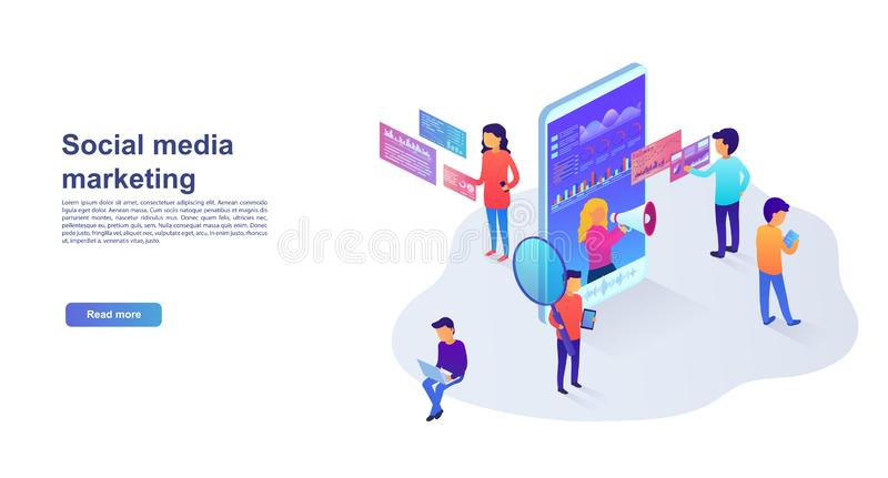 Statistics and analytics of the landing page in social networks, visual data, digital marketing. Marketing concept for website vector illustration