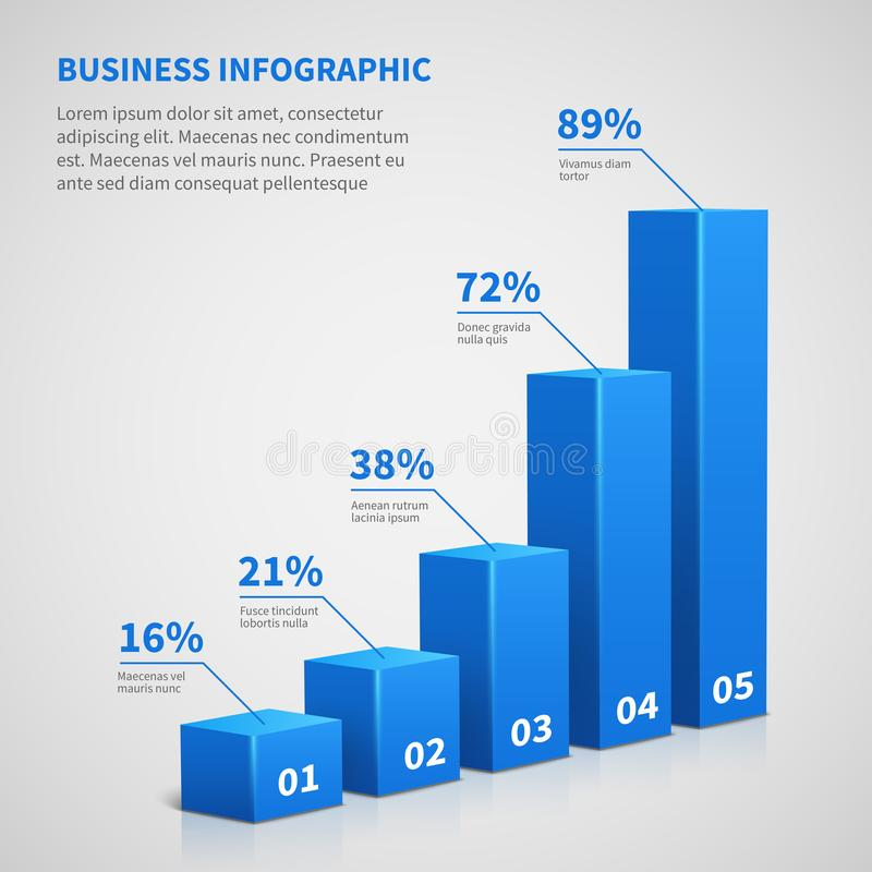 Statistics business 3d graph bar chart. Vector infographic with steps and options. Chart and graph, web data report and presentation illustration vector illustration