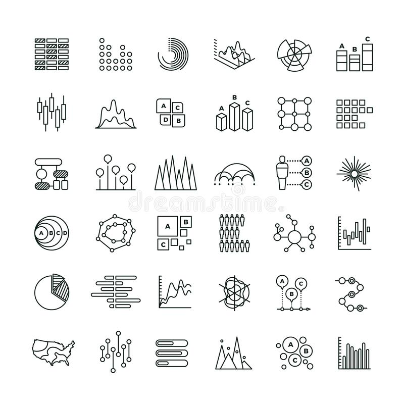 Statistics business graphs and charts outline vector icons. Financial diagrams line pictograms vector illustration