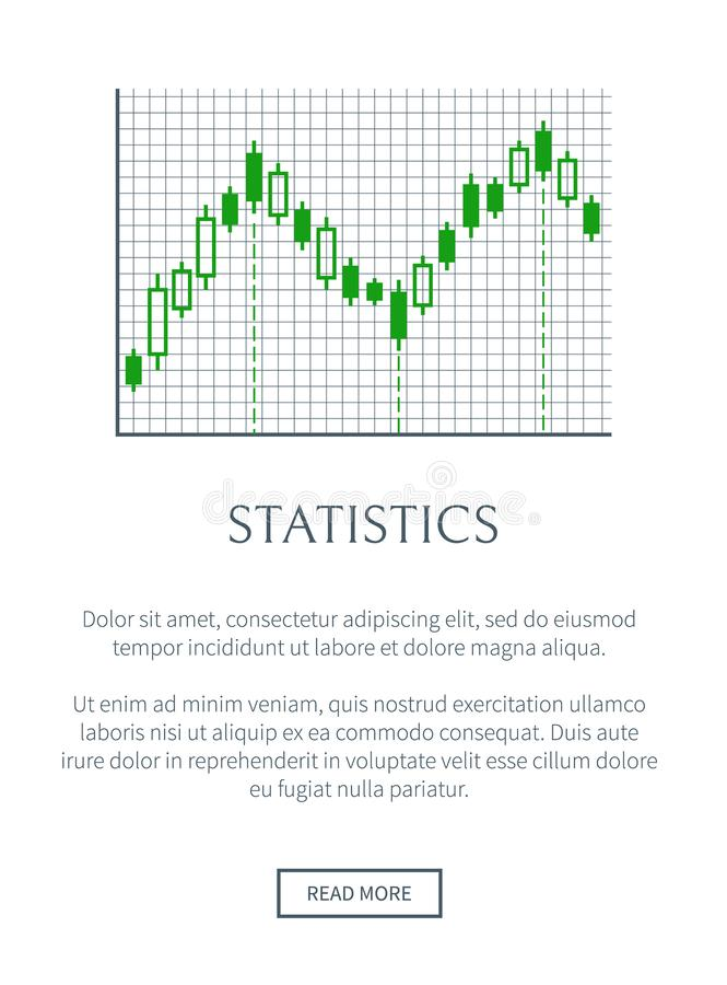 Statistics Card with Green Chart Isolated on Grid. Vector illustration, text sample, push button, rectangles set, infographic data representation royalty free illustration