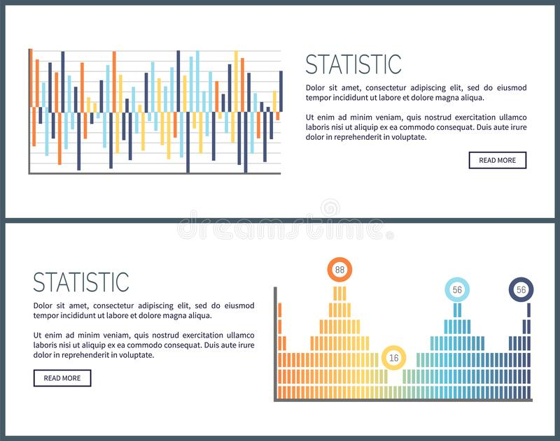 Statistics Charts and Diagrams Visual Data Web. Vector. Webpage with text sample, graphics and schemes, visualization of business analysis results info vector illustration