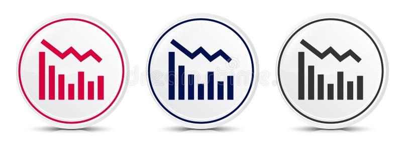 Statistics down icon crystal flat round button set illustration design. Isolated on white background royalty free illustration