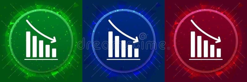 Statistics down icon elegant modern design abstract buttons set illustration. Statistics down icon isolated on elegant modern design abstract buttons set stock illustration