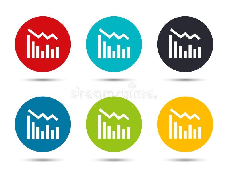 Statistics down icon flat round button set illustration design. Isolated on white background royalty free illustration