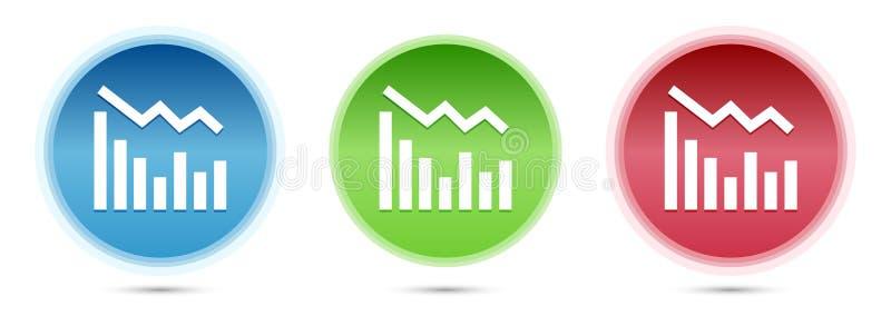 Statistics down icon glass round buttons set illustration. Statistics down icon isolated on glass round buttons set illustration stock illustration
