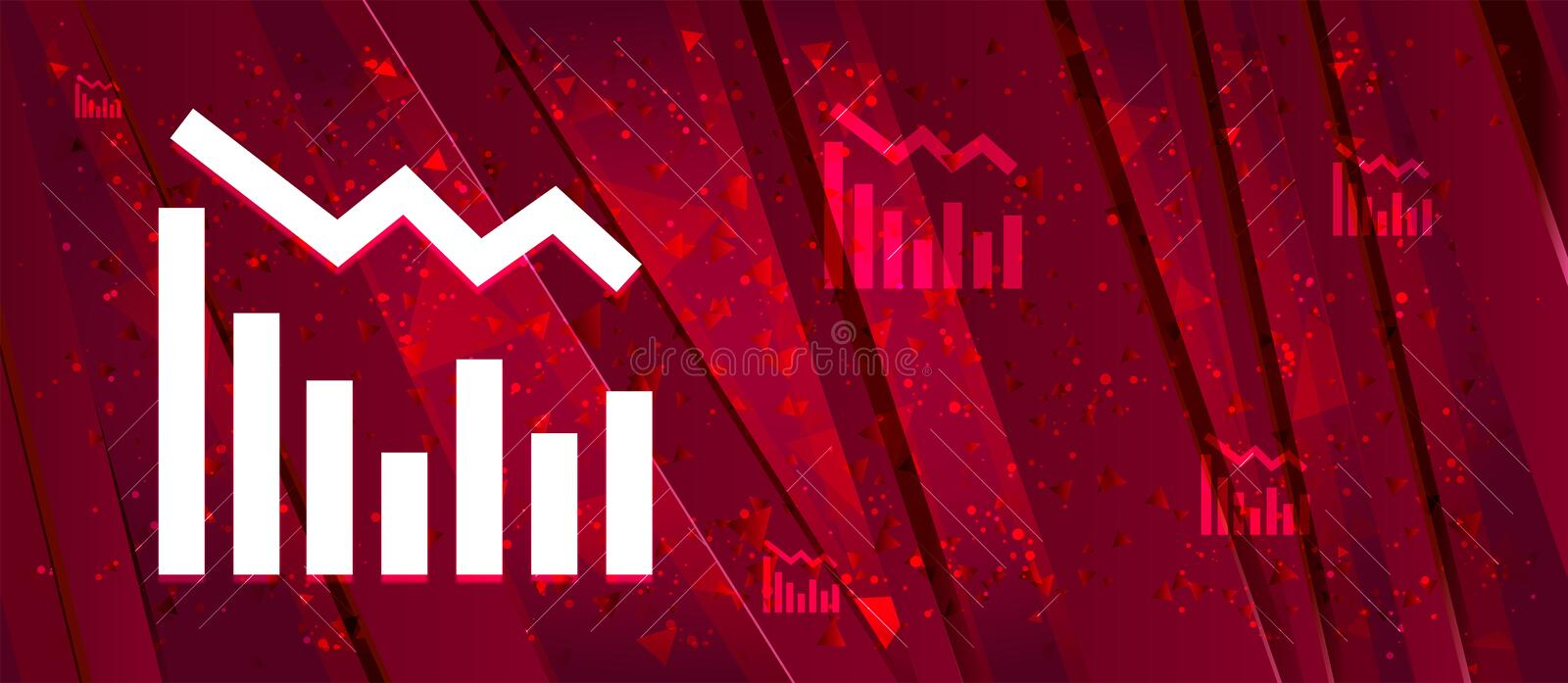 Statistics down icon Abstract design bright red banner background. Statistics down icon isolated on Abstract design bright red banner background stock illustration