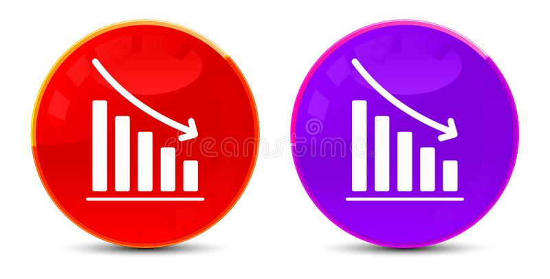 Statistics down icon glossy round buttons illustration. Statistics down icon isolated on glossy round buttons illustration stock illustration