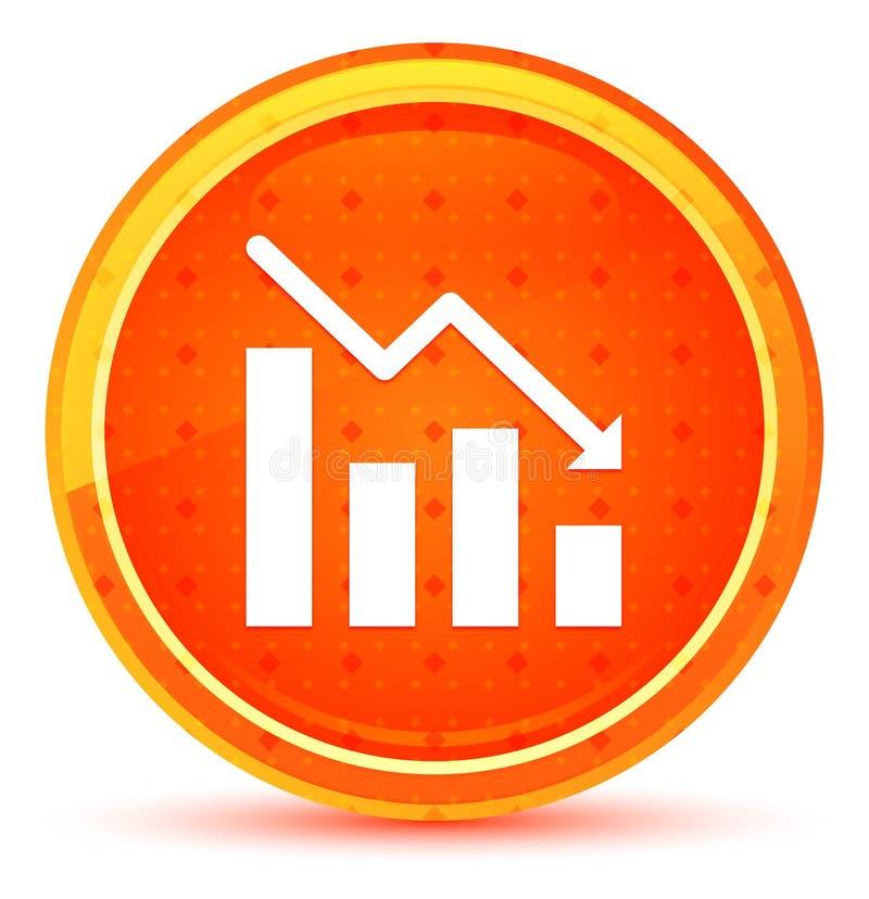 Statistics down icon natural orange round button royalty free illustration