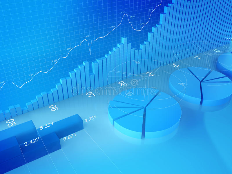 Statistics, Finance, Stock Exchange and Accounting. Different types of diagrams in 3d space