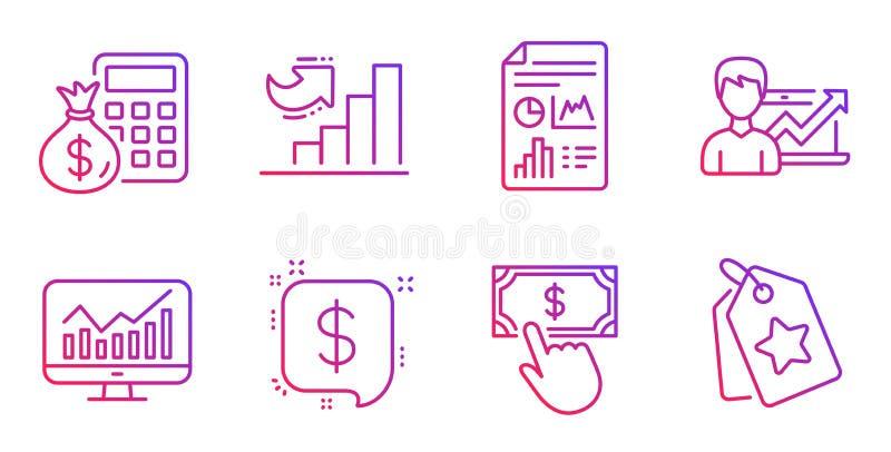 Statistics, Growth chart and Finance calculator icons set. Vector. Statistics, Growth chart and Finance calculator line icons set. Payment click, Report document vector illustration