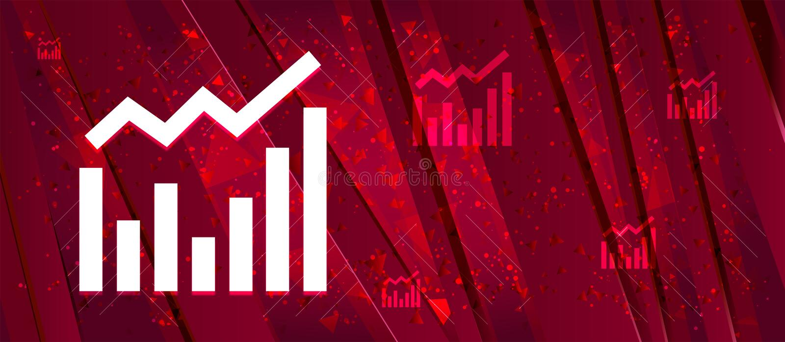 Statistics icon Abstract design bright red banner background. Statistics icon isolated on Abstract design bright red banner background royalty free illustration