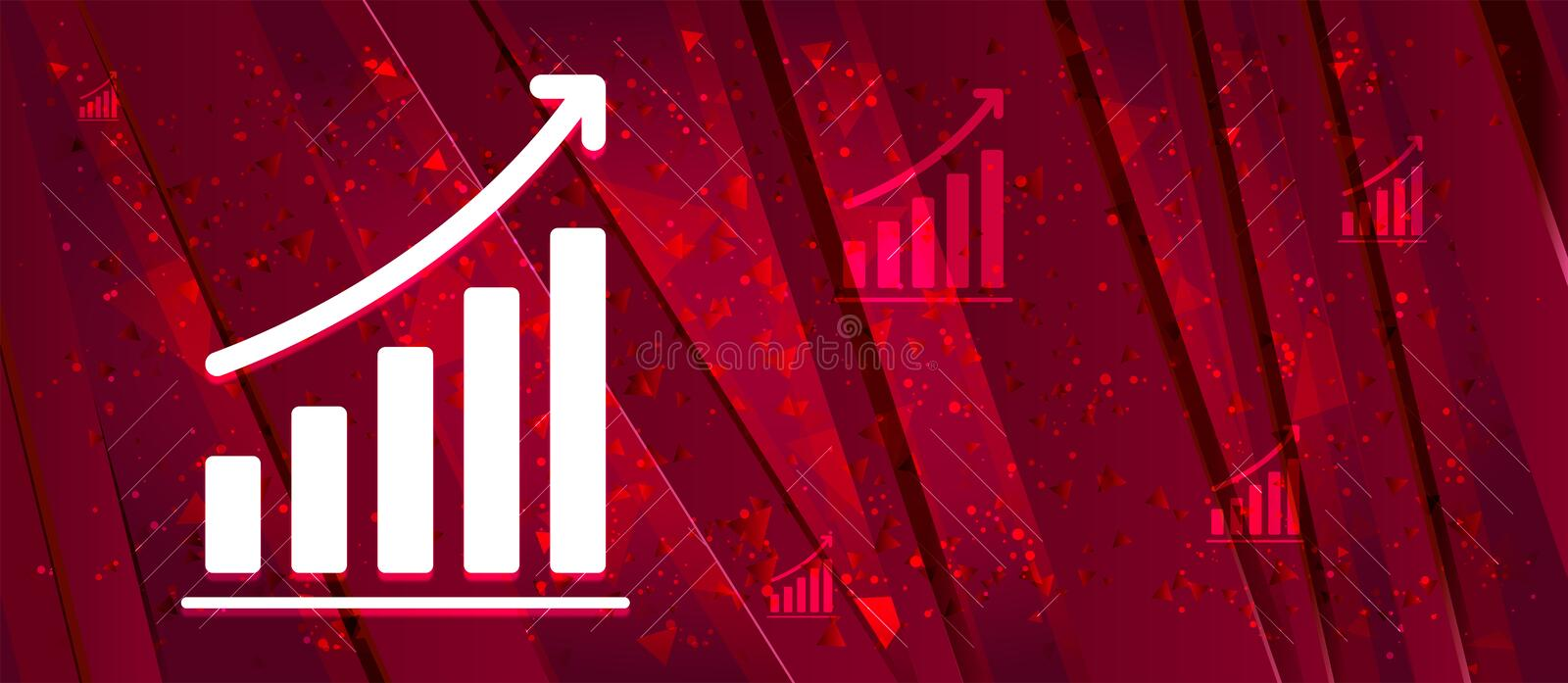 Statistics icon Abstract design bright red banner background. Statistics icon isolated on Abstract design bright red banner background vector illustration