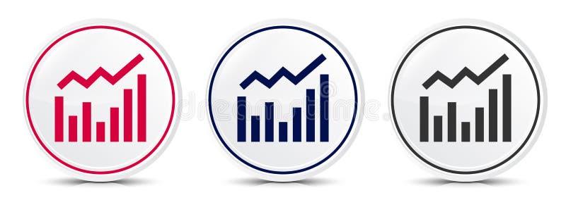 Statistics icon crystal flat round button set illustration design. Isolated on white background stock illustration
