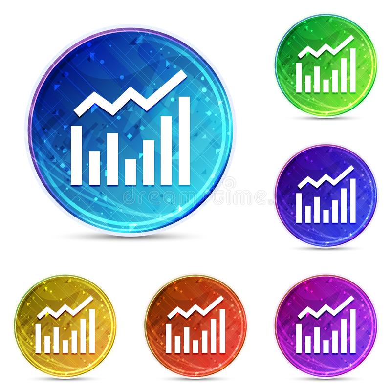 Statistics icon digital abstract round buttons set illustration. Statistics icon isolated on digital abstract round buttons set illustration stock illustration