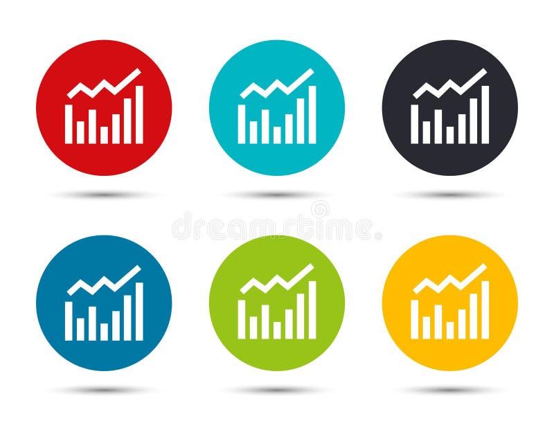Statistics icon flat round button set illustration design. Isolated on white background royalty free illustration