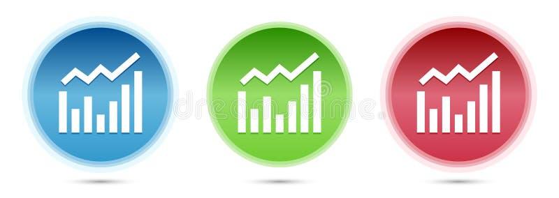 Statistics icon glass round buttons set illustration. Statistics icon isolated on glass round buttons set illustration vector illustration