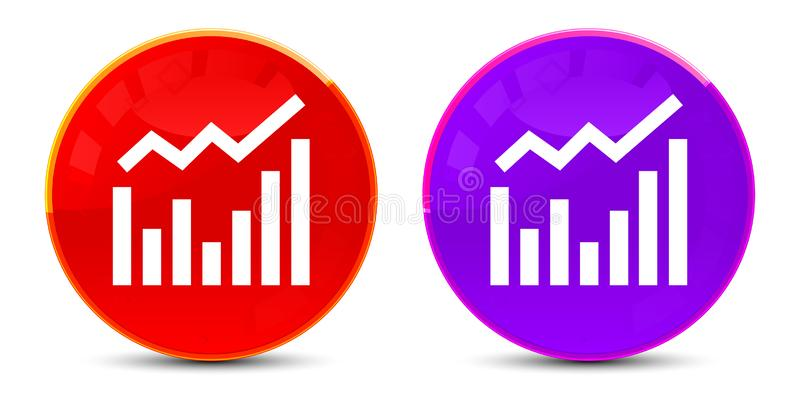 Statistics icon glossy round buttons illustration. Statistics icon isolated on glossy round buttons illustration vector illustration