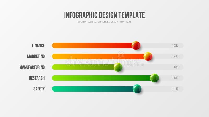 Statistics information bar chart design graphic visualization template. Business infographic presentation vector 3D colorful balls illustration. Corporate vector illustration