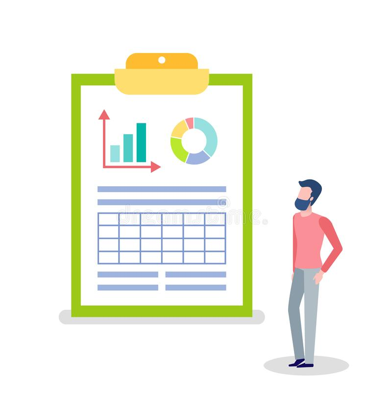 Statistics and Information on Clipboard and Man. Man looking at statistics and info on board vector, clipboard with information in visual representation royalty free illustration
