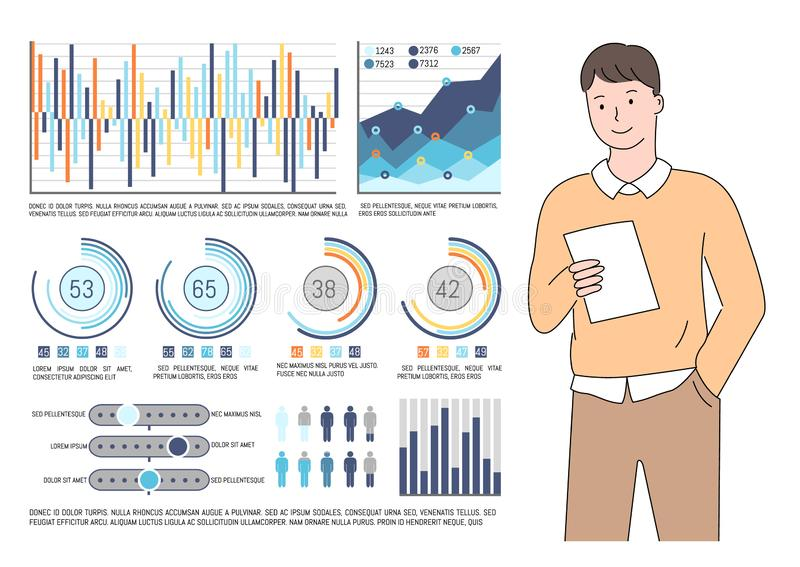 Man Reading Report, Documentation and Statistics. Statistics and information vector, man checking info on paper report in hands of entrepreneur, graphics and stock illustration