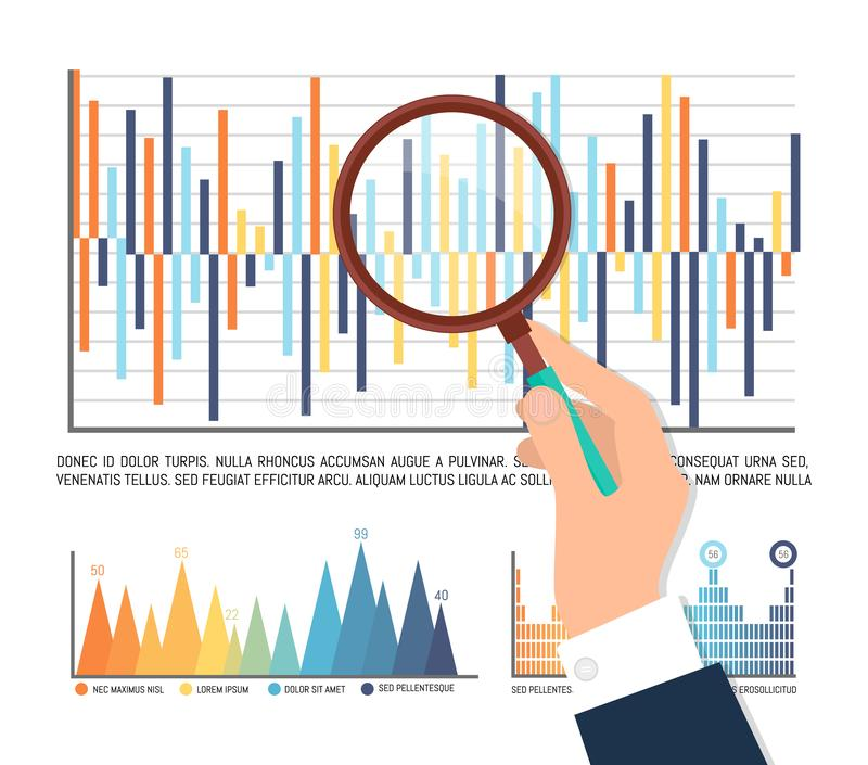 Statistics Male Analyzing Info on Paper Infocharts. Statistics analysis, hand of man holding magnifying glass scrutinizing results of business project, loupe royalty free illustration