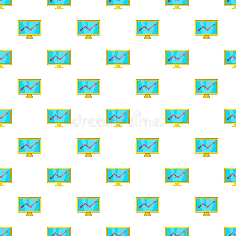 Statistics on monitor pattern, cartoon style. Statistics on monitor pattern. Cartoon illustration of statistics on monitor vector pattern for web royalty free illustration