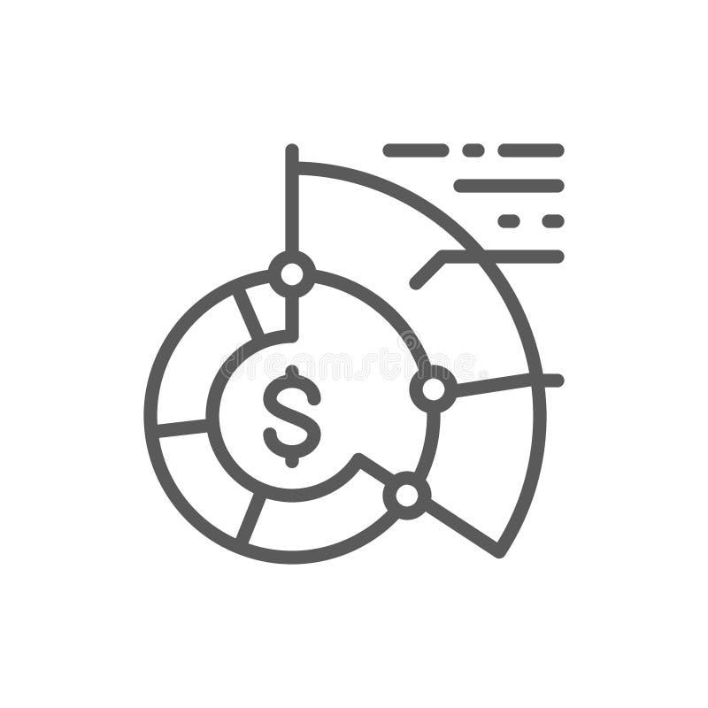 Statistics, pie chart, reports, graph, business plan line icon. stock illustration