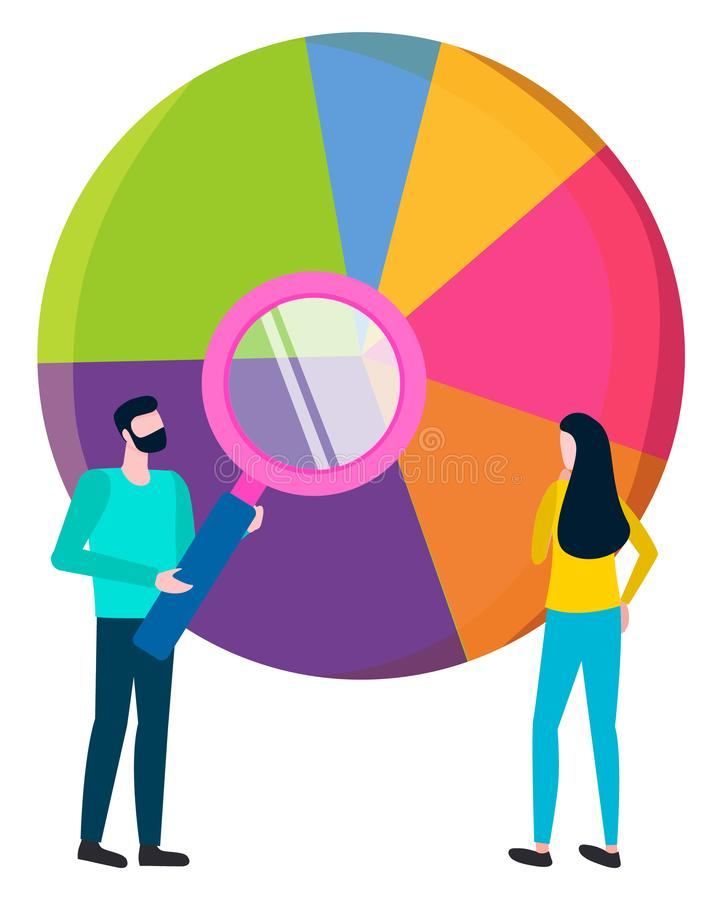 Statistics Result in Diagram, Analysis by Workers. Workers analyzing information results represented in diagram with segments. Brainstorming man and woman royalty free illustration