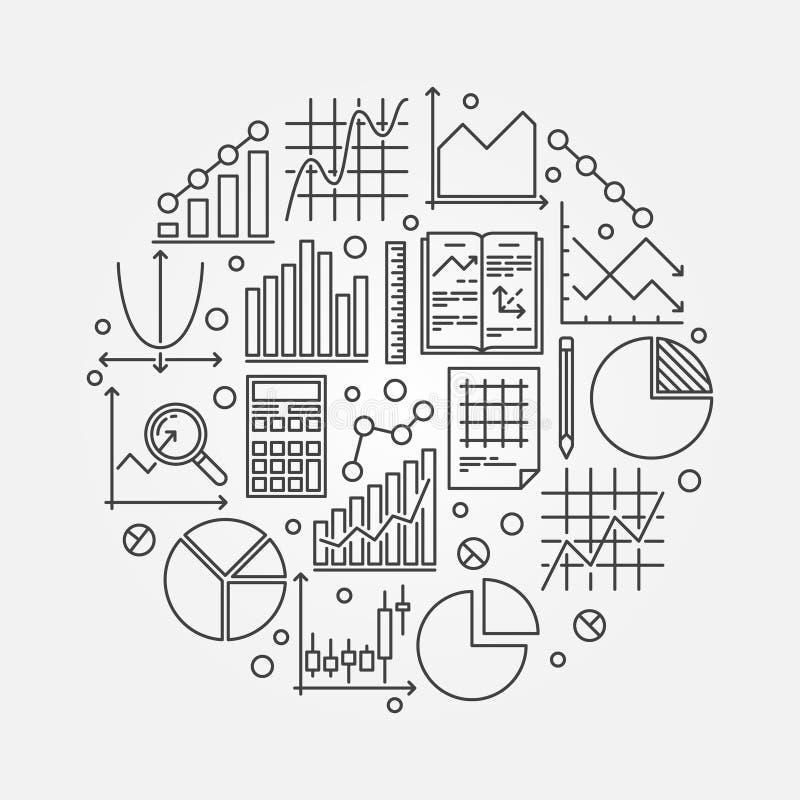 Statistics round vector illustration royalty free illustration