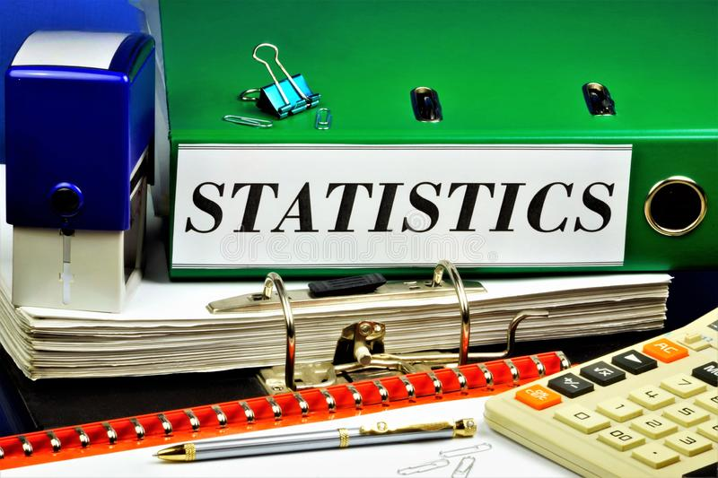Statistics - state of Affairs, files in folders, branch of scientific knowledge, collection, measurement and analysis of. Quantitative mass data in numerical stock images