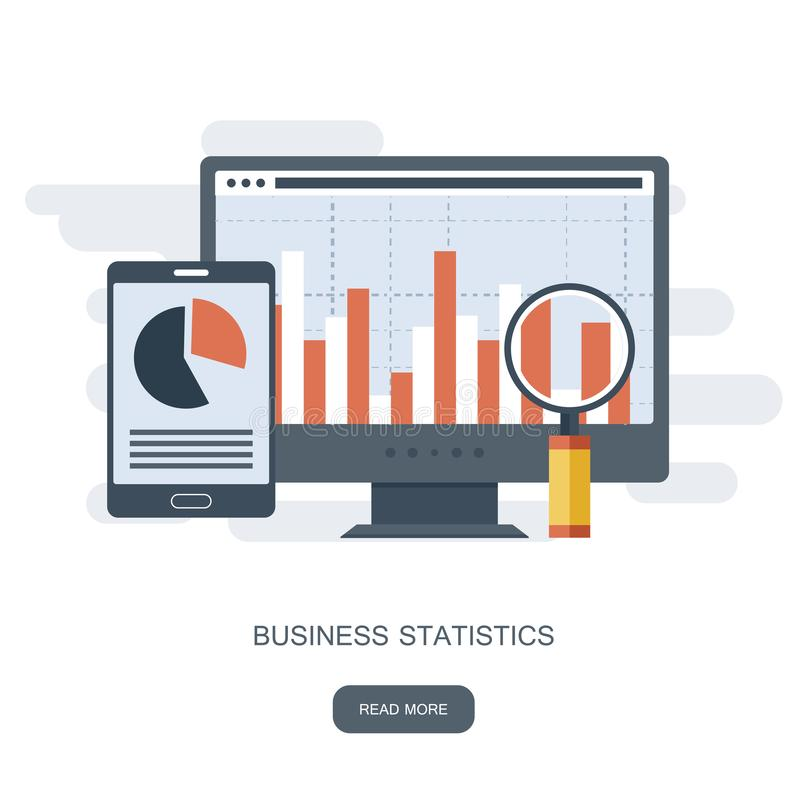 Statistieken en bedrijfsverklaring Financieel beleidsconcept Raadplegend voor bedrijfprestaties, analyseconcept vector illustratie