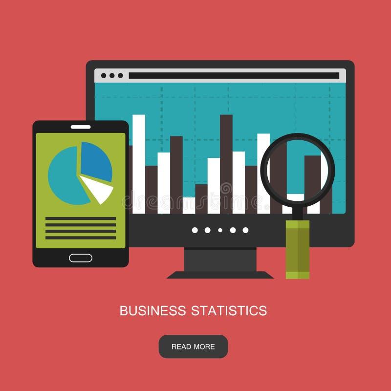 Statistieken en bedrijfsverklaring Financieel beleidsconcept Raadplegend voor bedrijfprestaties, analyseconcept royalty-vrije illustratie