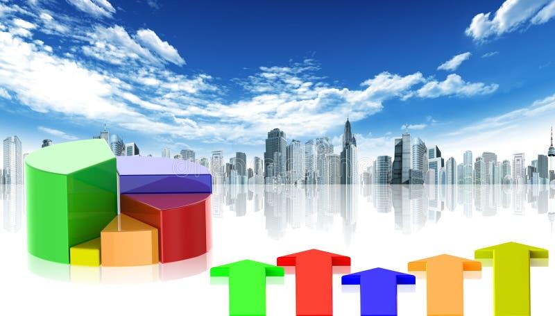 Statistieken en stad royalty-vrije illustratie