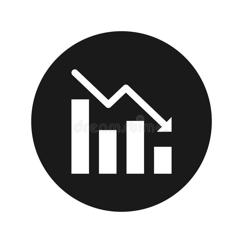 Statistieken onderaan vectorillustratie van de pictogram de vlakke zwarte ronde knoop stock illustratie