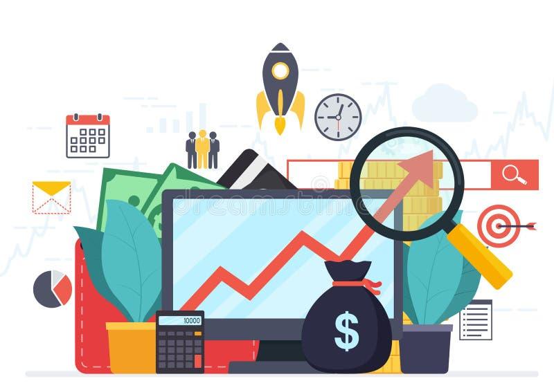 Statistieken van de analytics en de van het bedrijfs analyseweb ontwikkeling stock illustratie