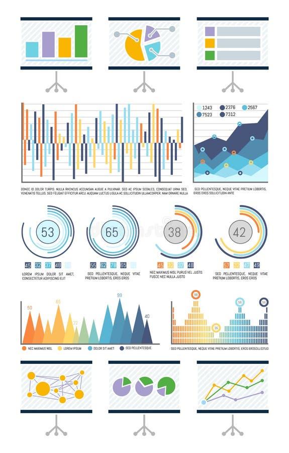 Statistieken in Visuele Vorm, Grafieken en Stroomschema's stock illustratie