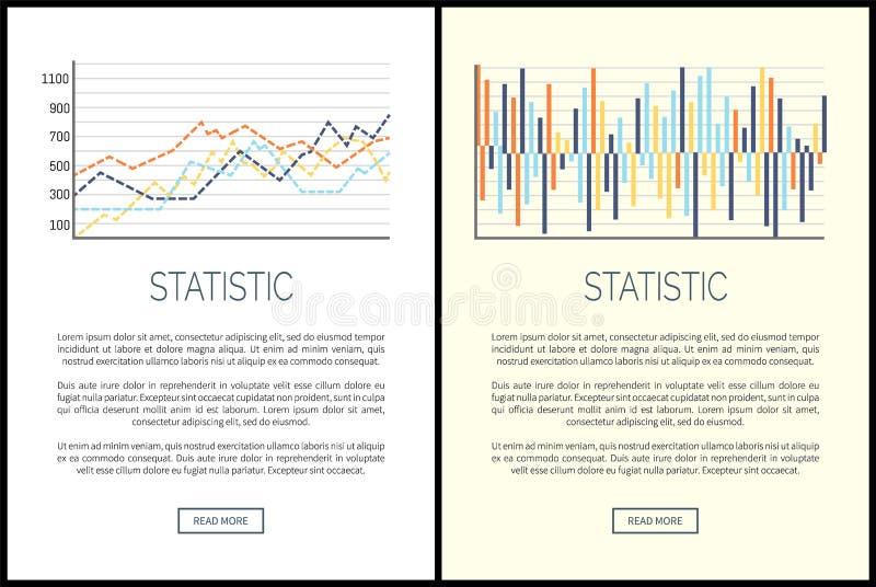 Statistieken Websites, Grafieken en Infographics-Reeks stock illustratie