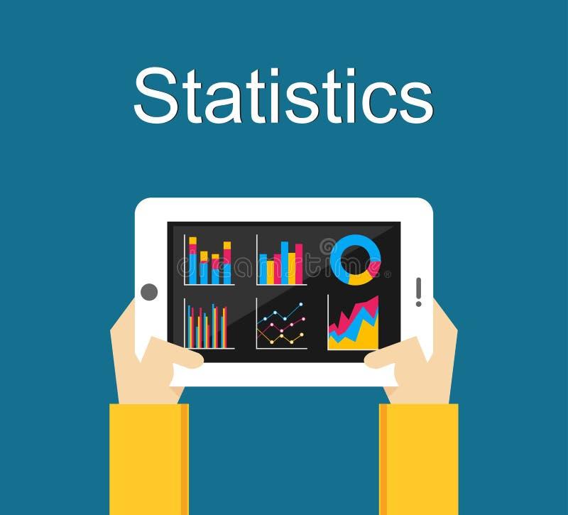 Statistiekenillustratie Analyseer bedrijfsstatistieken van het gadgetscherm royalty-vrije illustratie