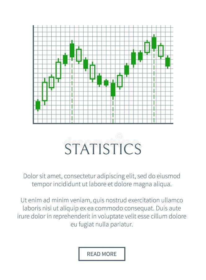 Statistiekenkaart met Groene die Grafiek op Net wordt geïsoleerd royalty-vrije illustratie