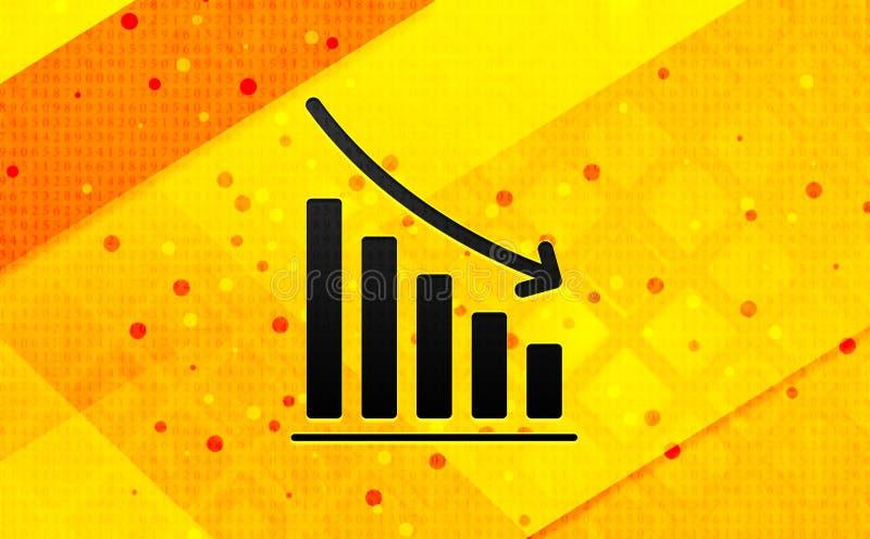 Statistik ner bakgrund för abstrakt digitalt baner för symbol gul royaltyfri illustrationer