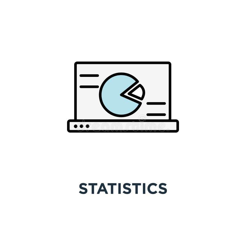 statistik symbol, bärbar dator med statistiska data som framläggas i form av digitala grafer och diagram, finansiell analys, rapp royaltyfri illustrationer
